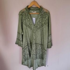 Nwt Indigo Thread Co tunic top lace inserts tunic length high low green 2X